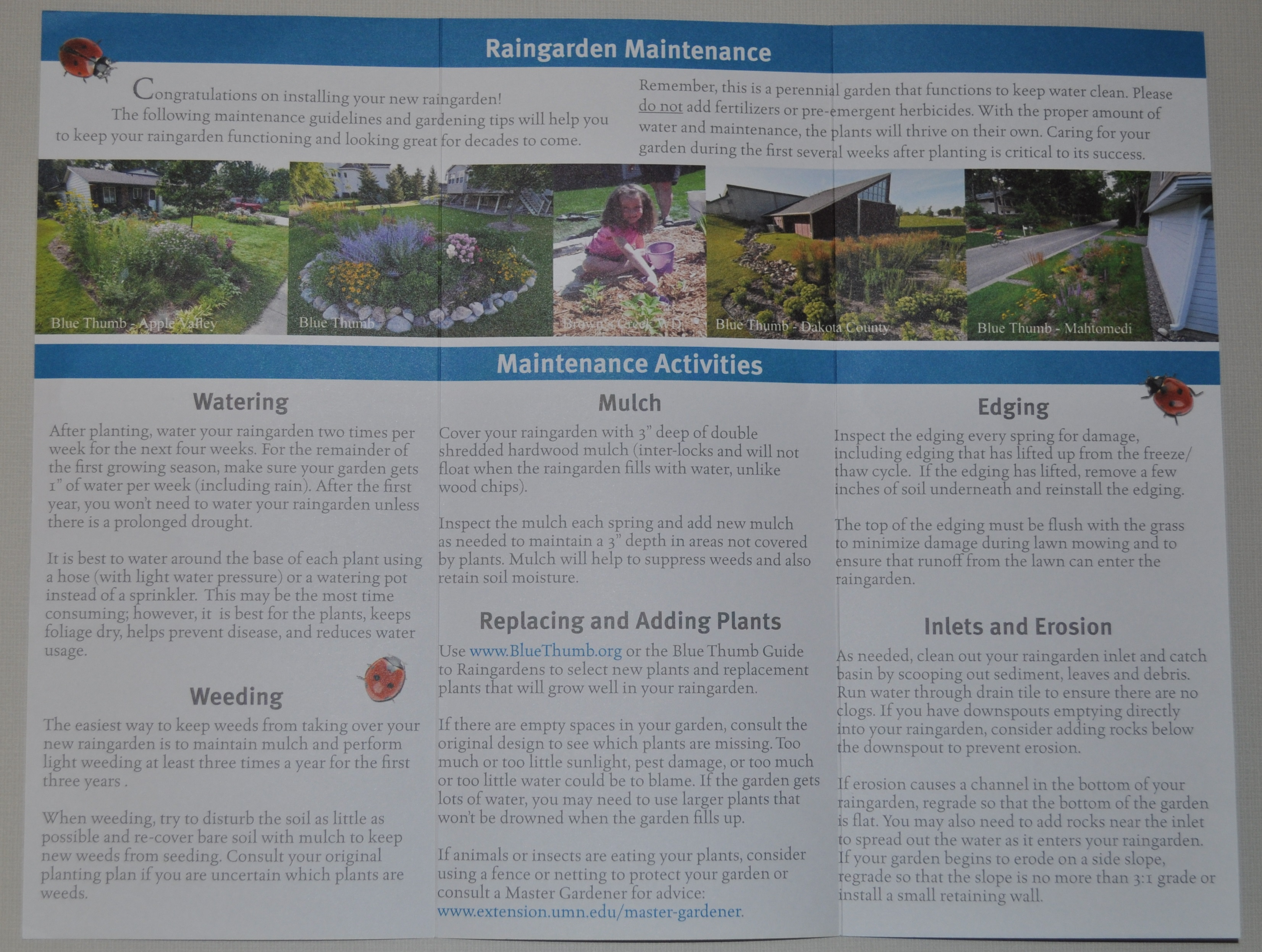 raingarden maintenance brochure inside