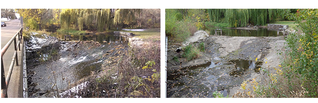 Arden Park Dam with and without water