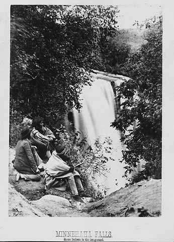 Photo of 3 Dakota men at Minnehaha Falls in 1857