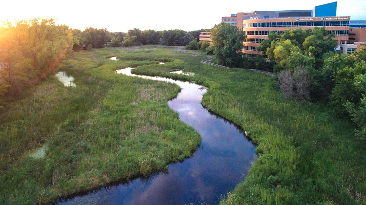 view of the creek at Methodist Hospital