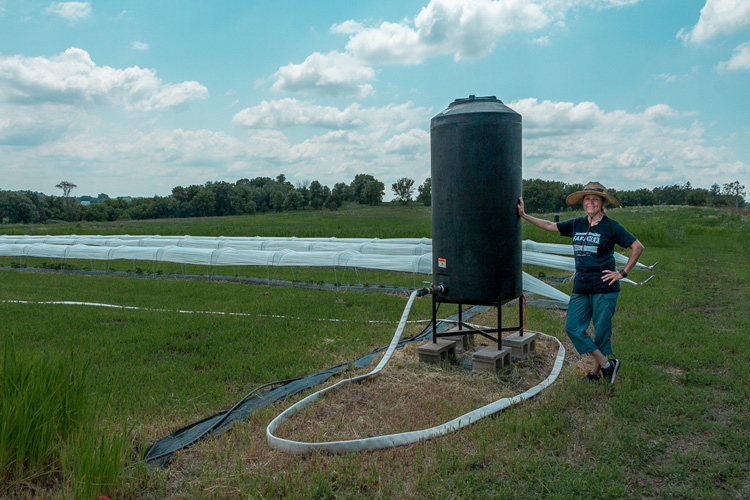 Woman standing by a cistern in a farm field