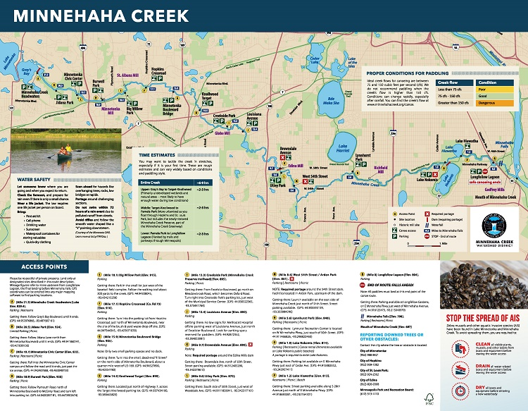 Minnhaha Creek Canoe Map