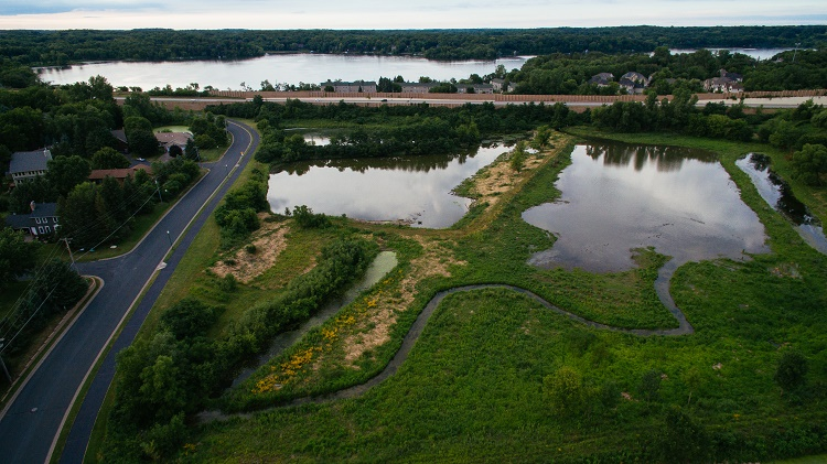 Drone aerial of Long Lake Creek wetland restoration