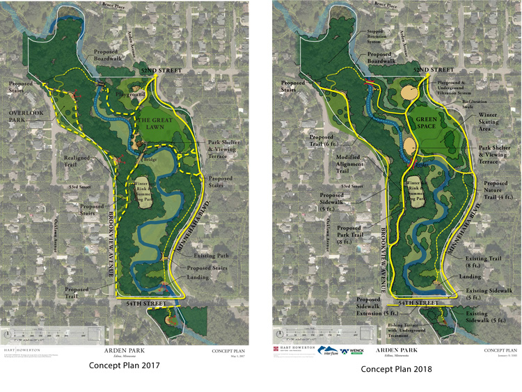 Concept Plan from 2017 on left, updated Concept Plan from 2018 with revised trails on right