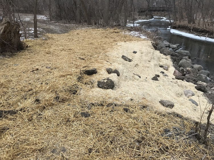 Repaired flood damage site on Minnehaha Creek