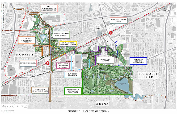 Drawn stylized map of the Minnehaha Creek Greenway