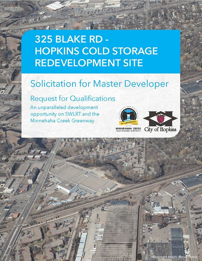 Cover of the 325 Blake Road RFQ showing an aerial of Cold Storage