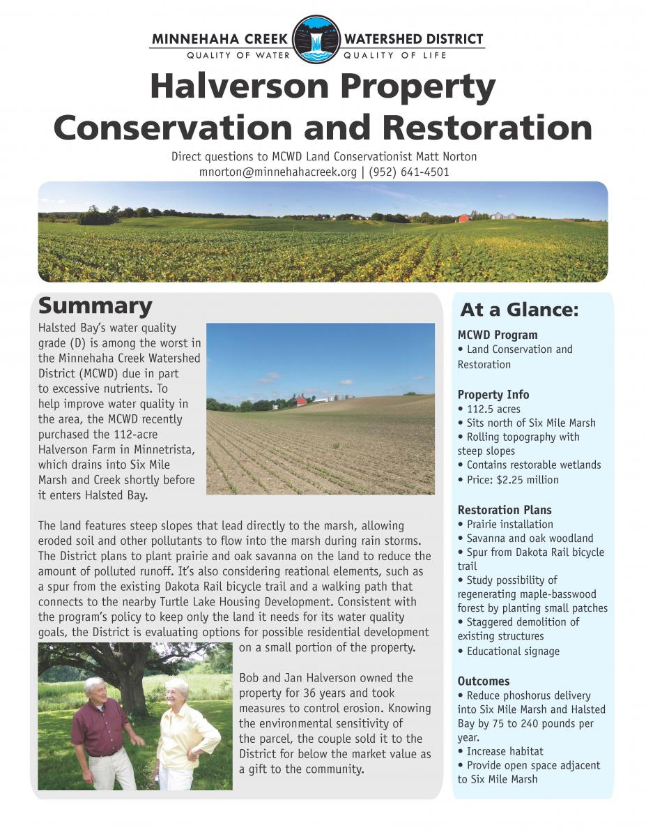 Halverson Property Conservation and Restoration fact sheet