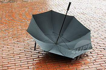 Upside down umbrella on wet pavers