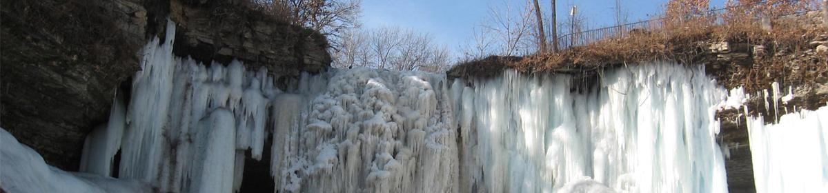 Minnehaha Falls in the winter.