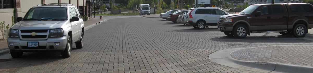 Porous pavement allows rainwater to filter through and reduces runoff.