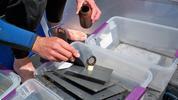 Scraping zebra mussel samples off a zebra mussel plate