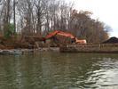 Excavating shoreline