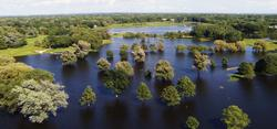 Aerial of the flooded golf course