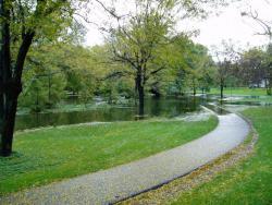 Water flooding a bike path