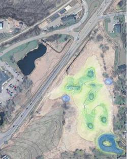 Drawn aerial map of Steiger Lake and stormwater ponds