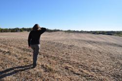 Women on plowed field